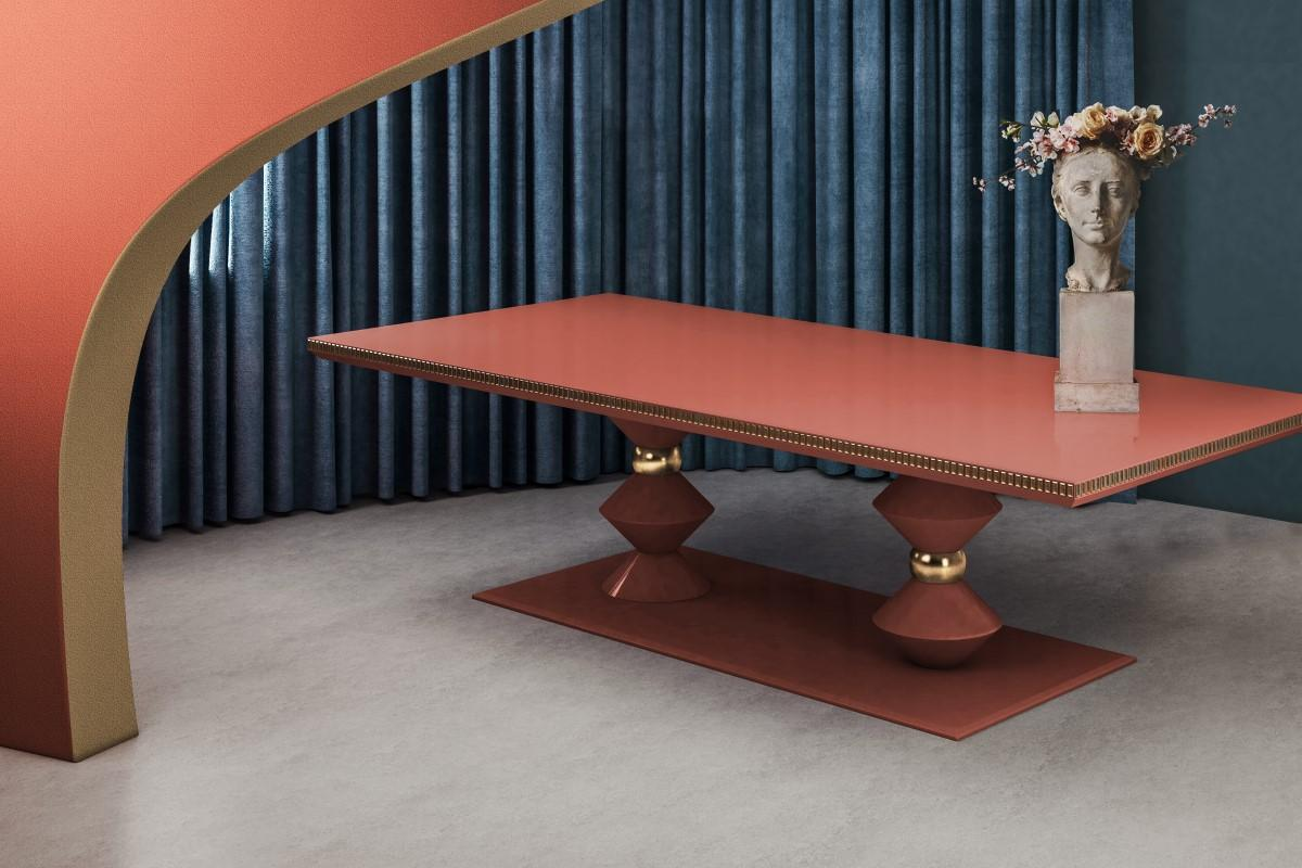 Cortez Modern Dining Table in coral and gold