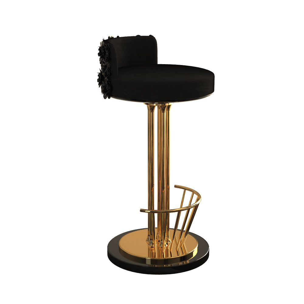 Pilar Bar Stool withhighgloss blacklacquered base and seat upholstered in a luxurious cotton velvet
