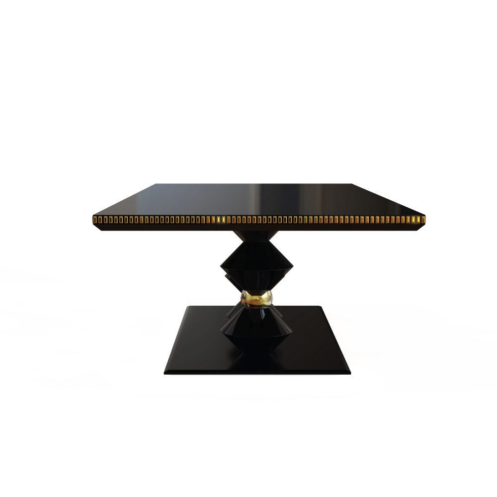 Petit Cortez Dining Table with two shapely designed geometric feet, in lacquered wood and gold leaf coated semi-spheres
