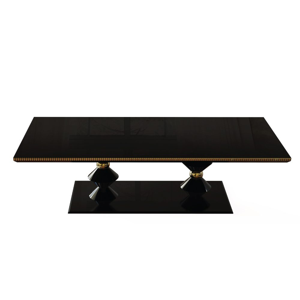 Cortez Modern Dining Table is wood finished with high gloss black varnish surrounded by a subtle line of gold leaf coated elements