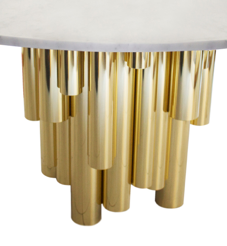 Wanderlust II Dining Table with polished brass pipes and Carrara marble
