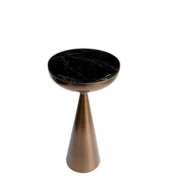 Lignum Modern Side Table in antique brushed brass structure and marble