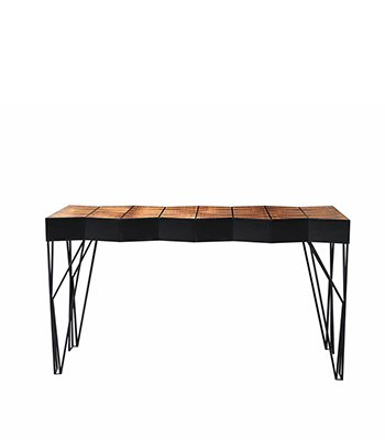 Trinity Modern Console is structured in lacquered wood with an inlaid geometric pattern in ironwood and with legs made of iron.