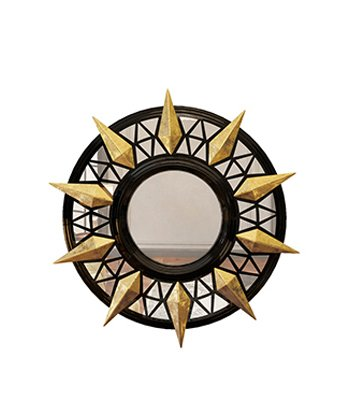 The Trinity Exclusive Mirror has a symmetrical structure in lacquered wood with marvelous gold leaf coated details