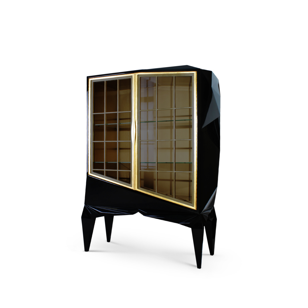 Chopin Contemporary Cabinet in black lacquered wood and a clear glass shelving