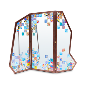 Camelia Folding Screen featuring handpainted tiles