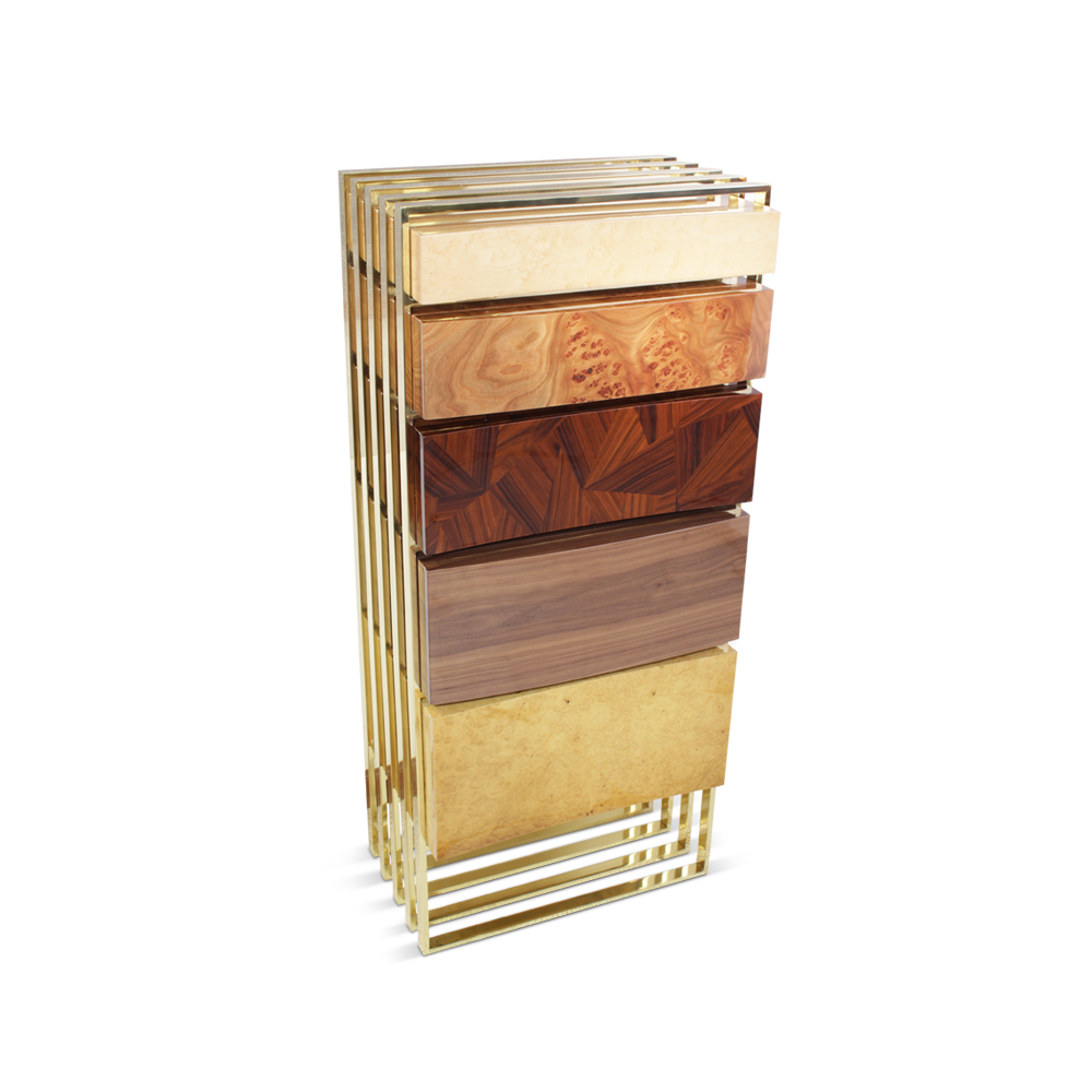 Hollow Chest of Drawers features several woods, like bird's eye, elm wood root, patchwork marquetry in ironwood and American walnut, blended with a polished brass structure