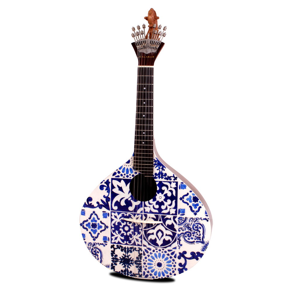 Azulejo IV Portuguese Guitar with its various geometric shapes in traditional white and blue