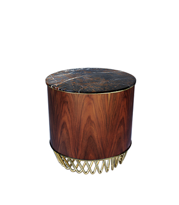 Kuma Modern Side Table features a St. Laurent marble top, blended with a wood structure
