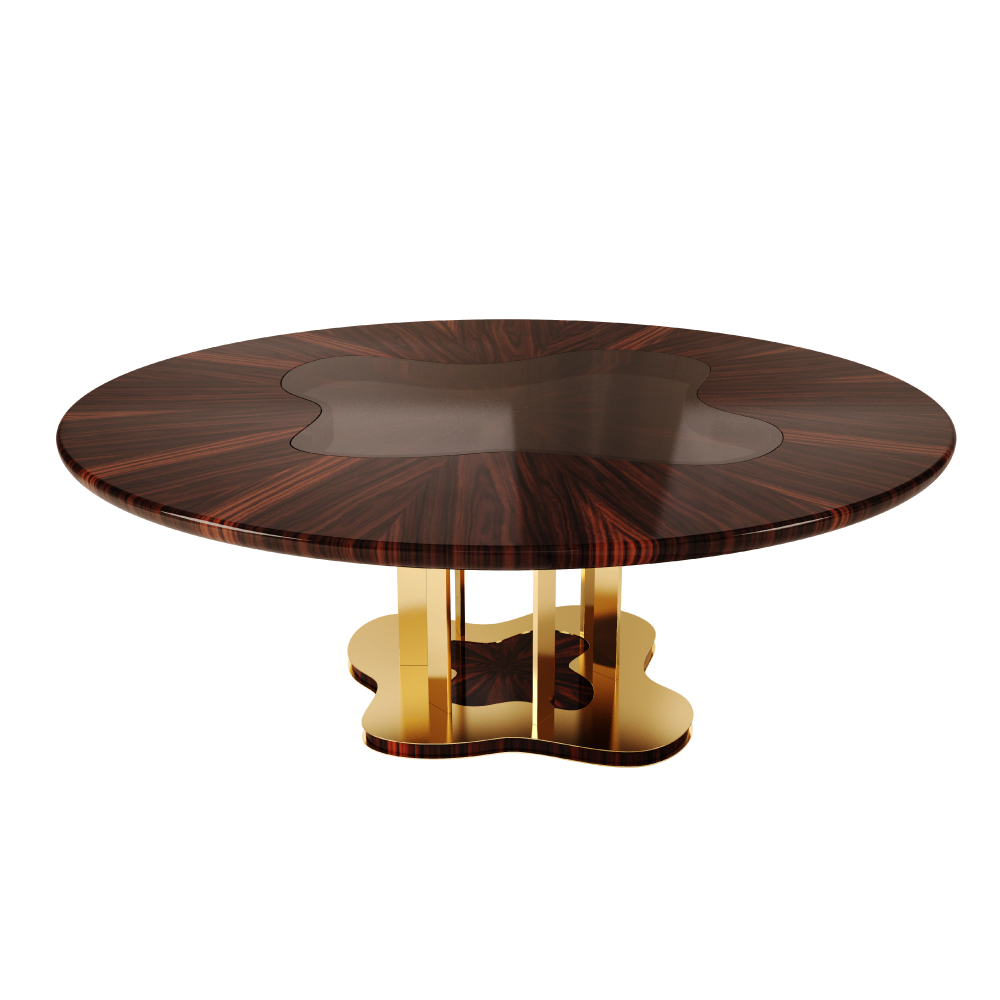 Marina Dining Table in ironwood veneer with high gloss varnish, mixed with a smoked glass in the core