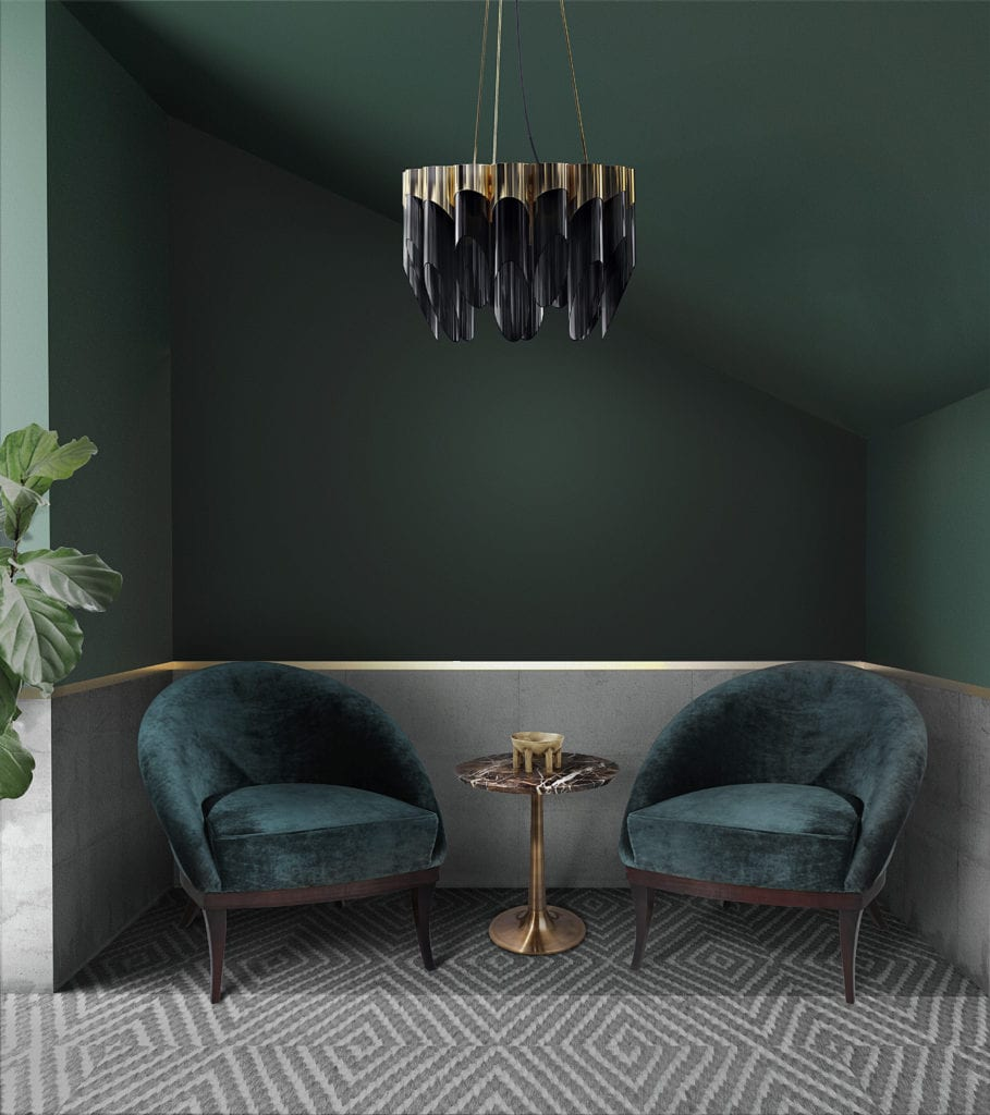 Forest Green - Bamboo Suspension Lamp and Kim Armchair