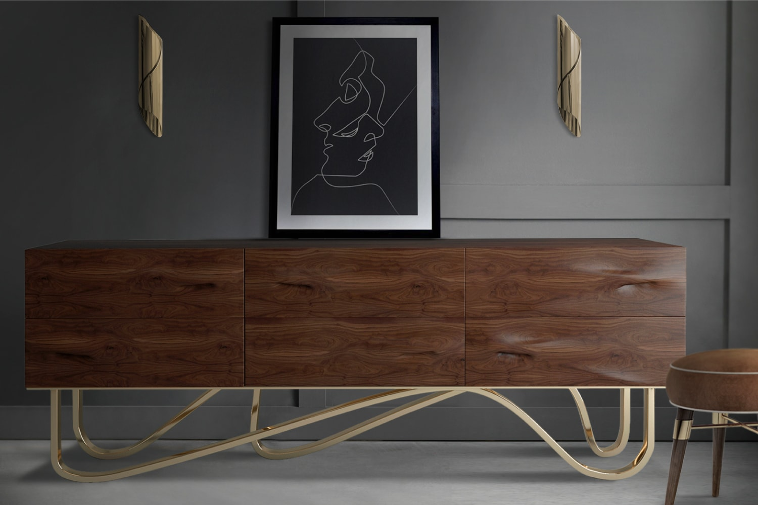 Goldberg Sideboard amazing structure in solid walnut wood and wavy brass legs