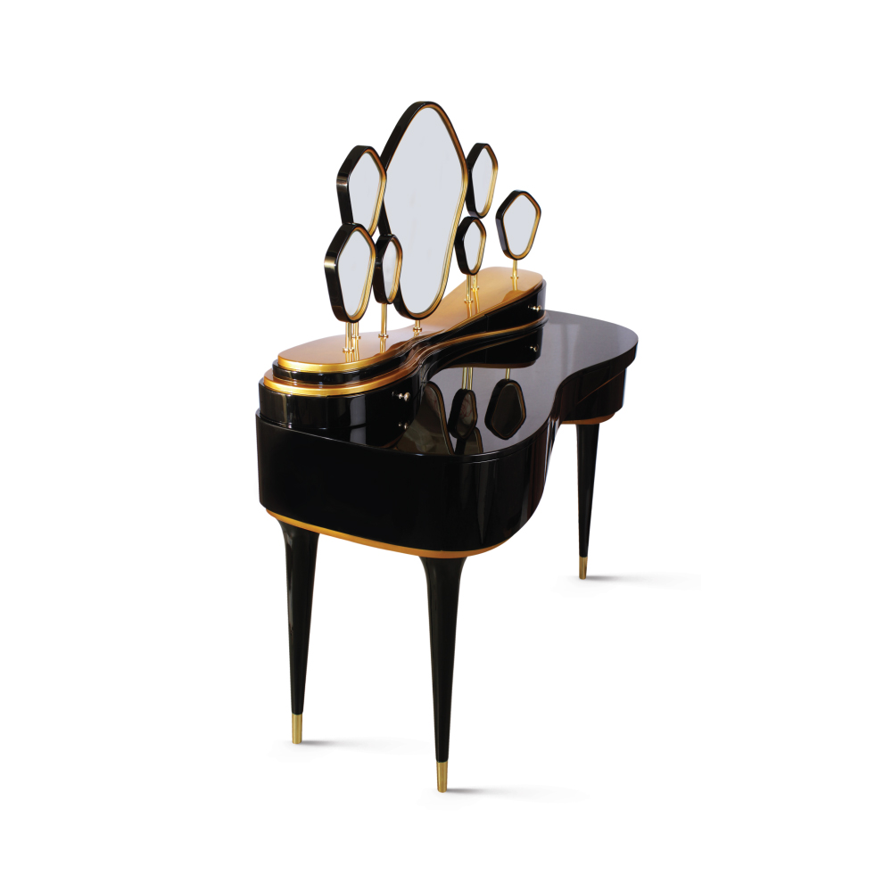 Petit Amélie Dressing Table is adorned with seven different-sized mirrors
