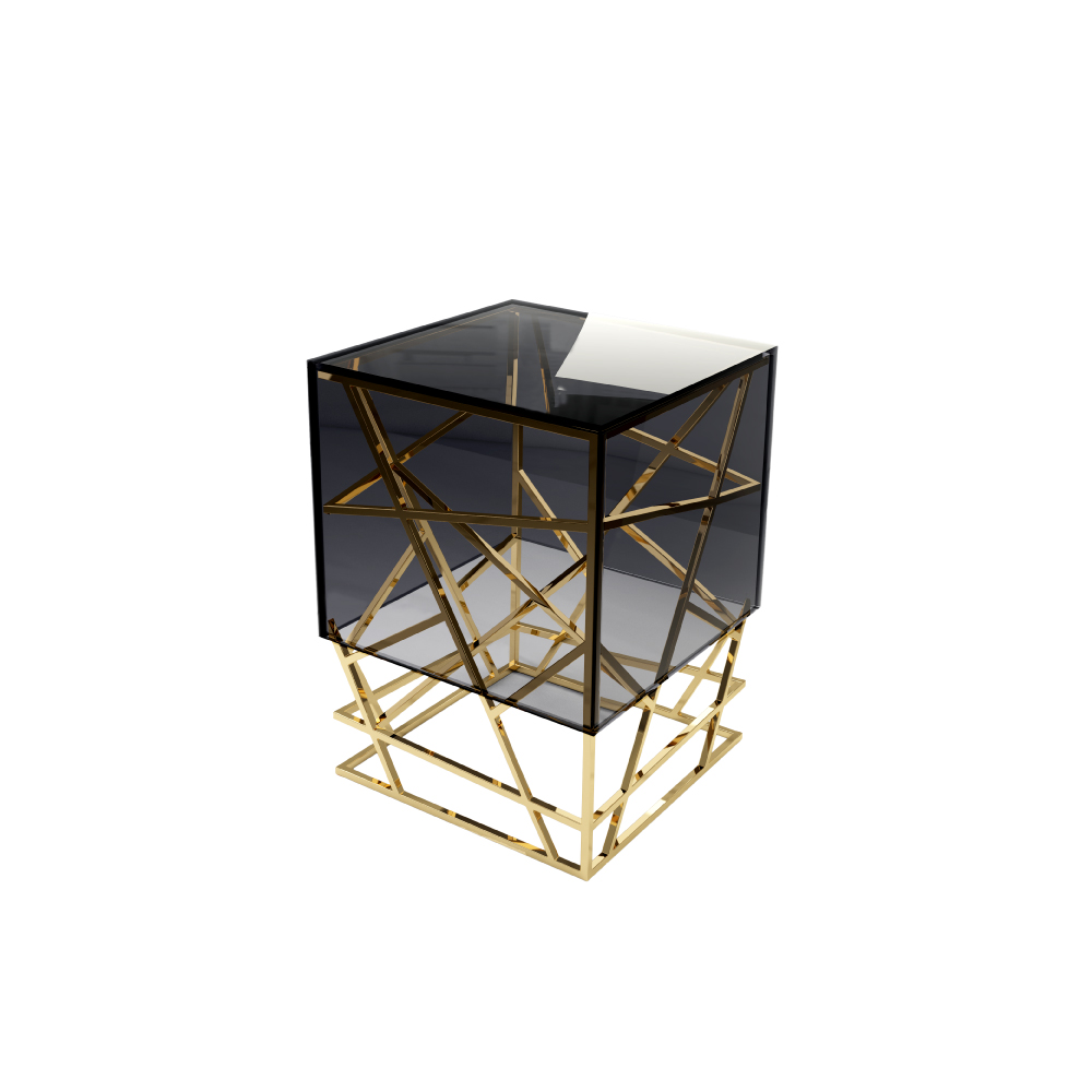 Kenzo Modern Side Table with a smoked glass table top and a brass structure