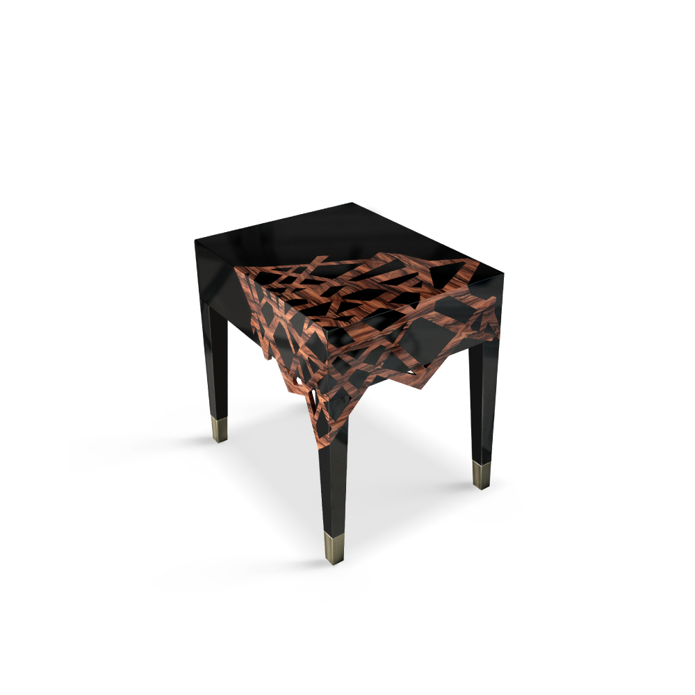 Dynasty Modern Nightstand has aged brushed brass feet and a handmade structure