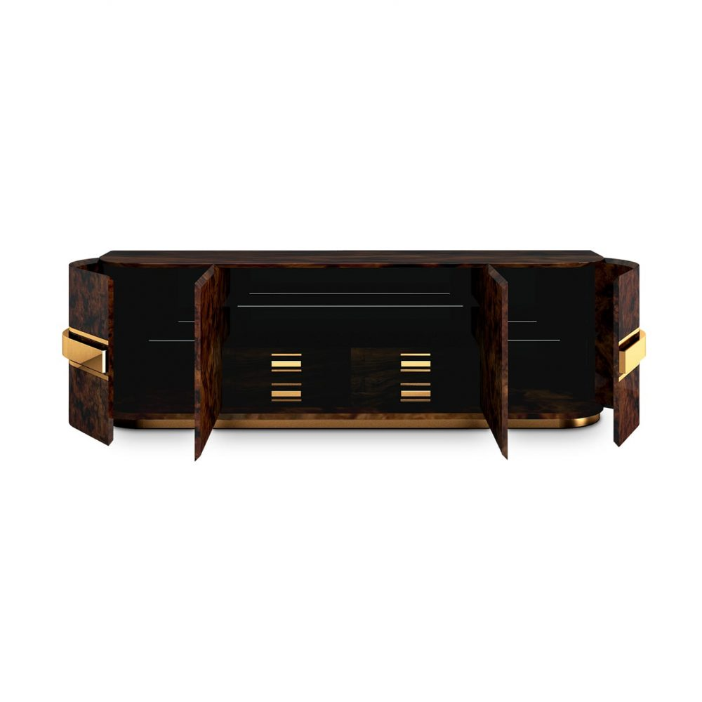 Chrysler Modern Sideboard combines two types of walnut root, black lacquer and glass, adorned and supported by polished brass