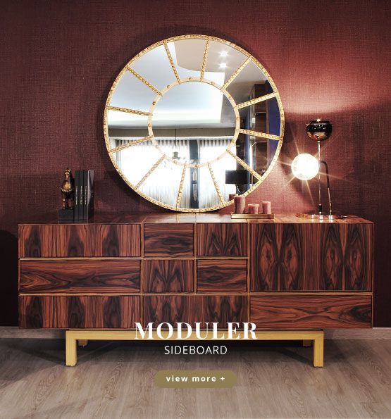 Moduler Modern Sideboard was designed with geometric lines and it is made of exotic woods