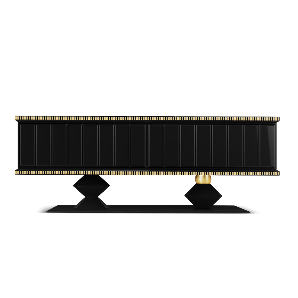 Cortez Heritage Sideboard structured in black lacquered wood and finished with high gloss varnish, embellished with gold leaf coated details