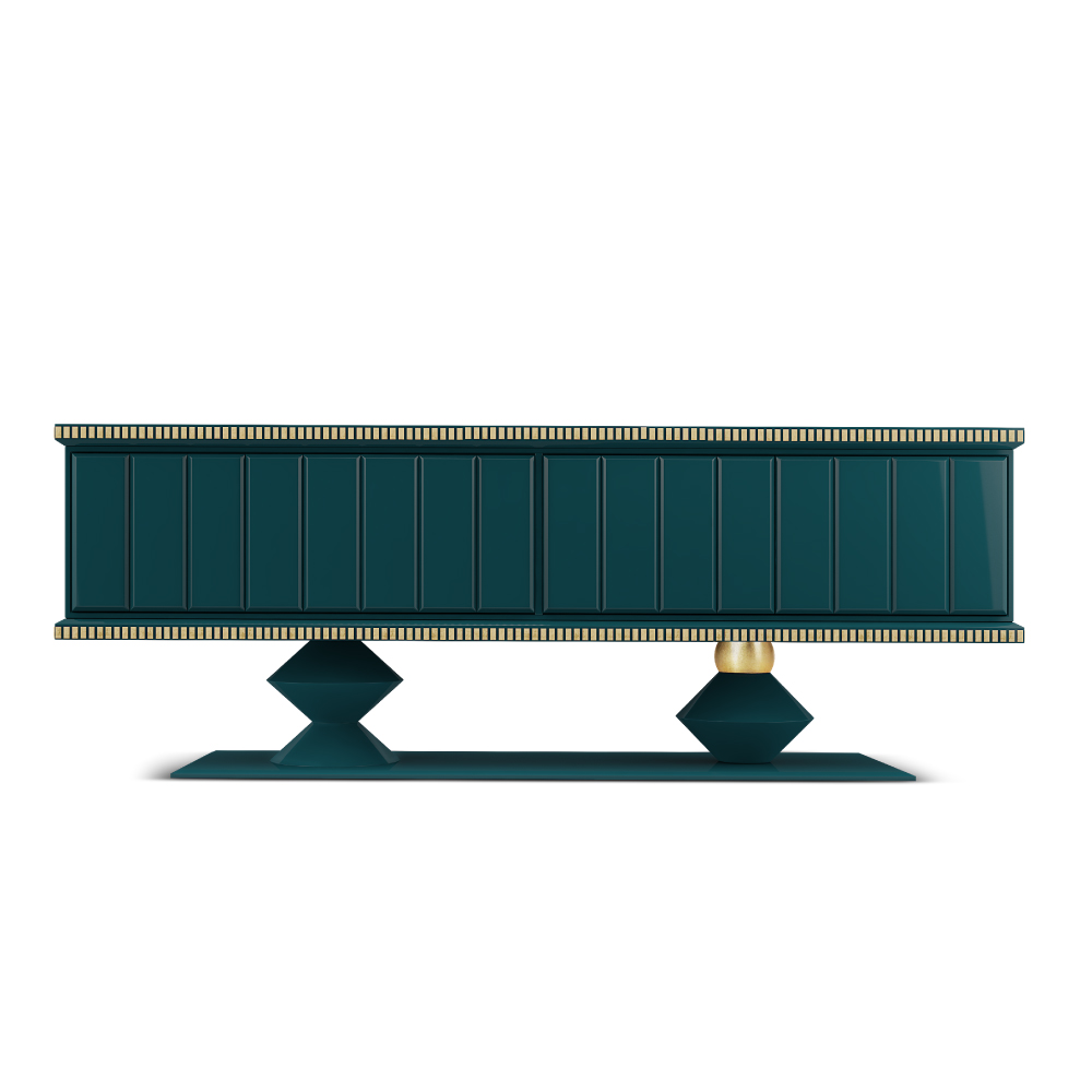 Cortez Heritage Sideboard structured in turquoise lacquered wood and finished with high gloss varnish, embellished with gold leaf coated details