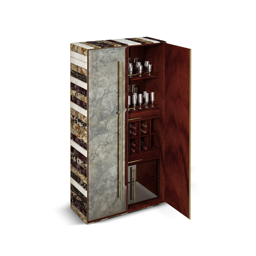 Formation Contemporary Cabinet surrounded by textures like rosewood, polished brass and bronze mirror