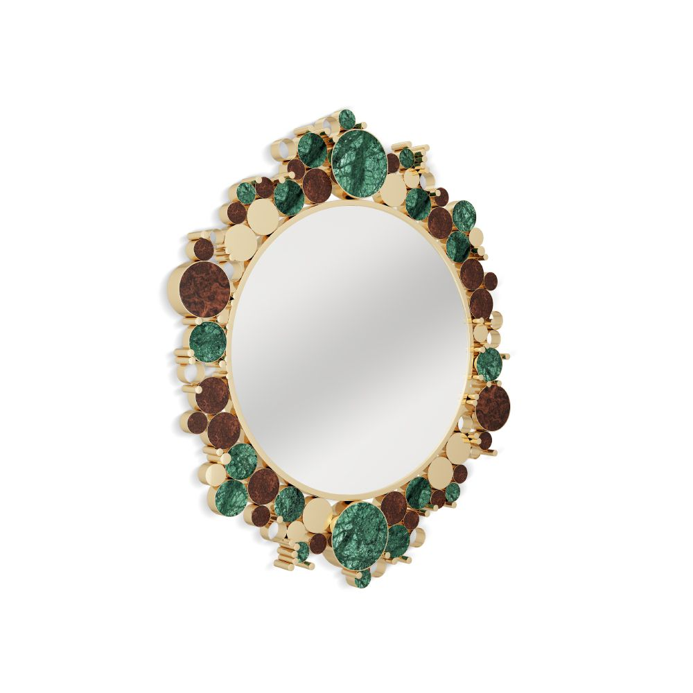 Wanderlust Modern Mirror with verde guatemala marble and walnut wood root accents