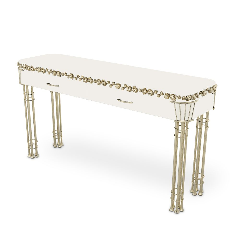Pilar Console with white Lacquered body