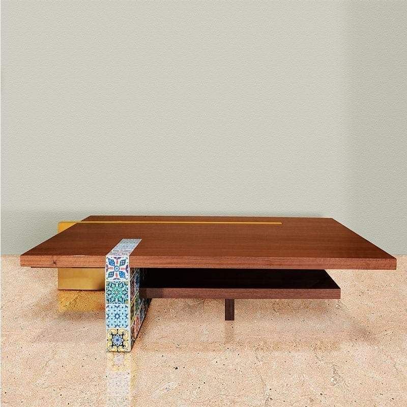 Camelia Center Table featuring handpainted tiles